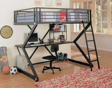 16. Os modelos de beliche com escrivaninha minimalista são mais fáceis de combinar com o resto da decoração do quarto. Fonte: Pinterest