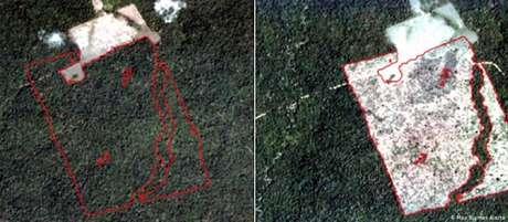 Imagens de satélite de 4/11/2018 e de 16/3/2019 mostram desmatamento de 149,77 hectares no norte de Rondônia