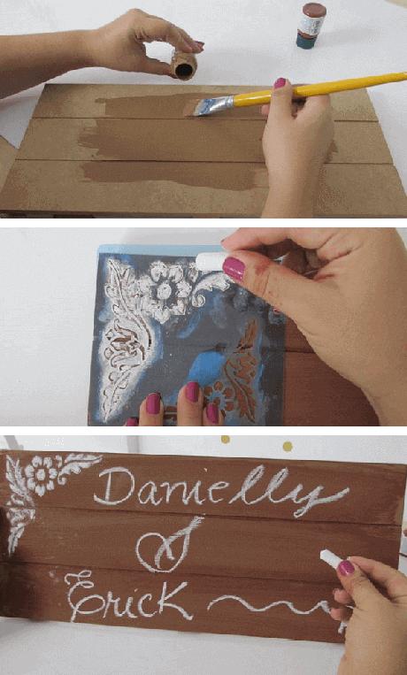 12. Como fazer plaquinhas de casamento, etapas ilustradas do passo a passo. Foto Danielly Guedes_Ateliê Craft