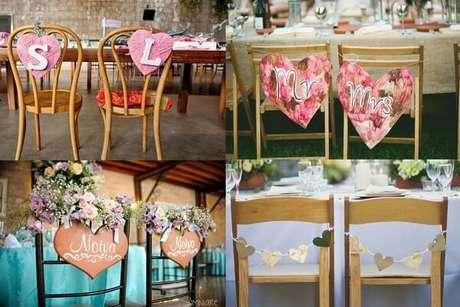 58. Modelos variados de plaquinhas de casamento para cadeira dos noivos. Fonte: Lembrancinhas de Casamento