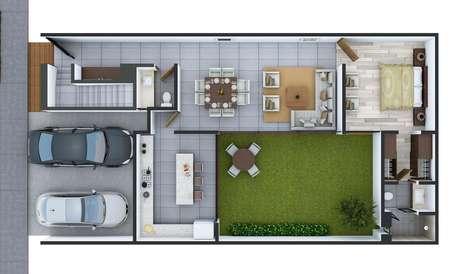 1. Muitas plantas de casas modernas priorizam áreas verdes. Imagem: Alto Lago
