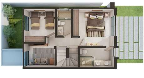 6. Plantas de casas modernas também podem ter mais de um andar. Imagem: Adamar