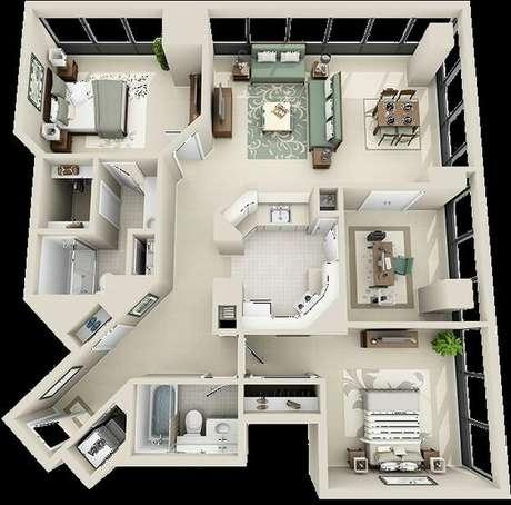 7. Algumas plantas de casas modernas optam pelo uso de muitos corredores. Imagem:Pinterest