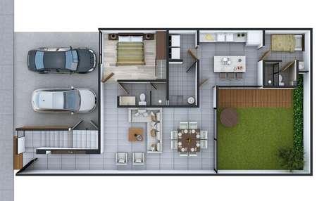 11. Áreas verdes internas também são típicas das plantas de casas modernas. Imagem: Alto Lago