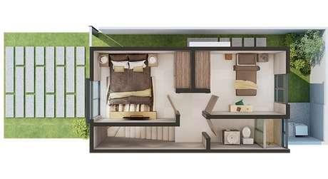 12. Plantas de casas modernas pequenas costuma trabalhar com muito funcionalismo para ganhar espaço. Imagem: Adamar