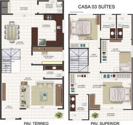 14. Plantas de casas modernas grandes usam muito suites. Imagem: Decorando Casas