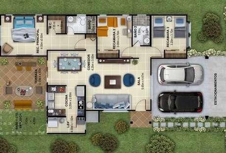 15. Áreas externas gourmet são muito comuns nas plantas de casas modernas. Imagem: Decor Fácil