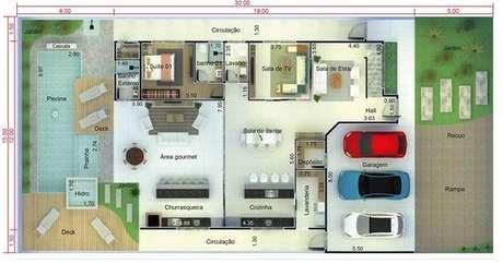 16. As garagens das plantas de casas modernas sempre são funcionais. Imagem: Pinterest