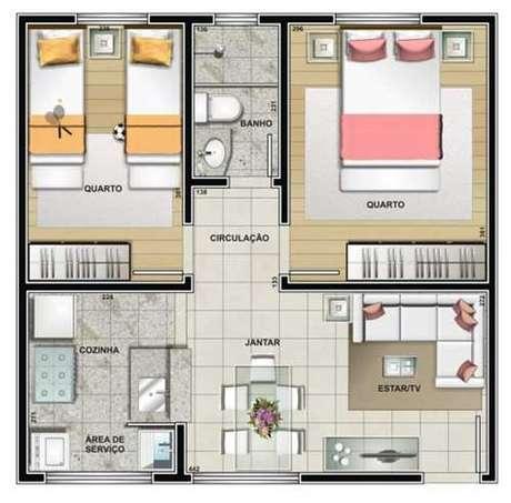 18. Plantas de casas modernas e pequenas costumam utilizar os próprios móveis como divisórias. Imagem: Tudo Construção