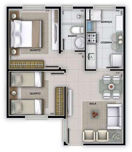 3. Plantas de casas modernas pequenas são muito comuns. Imagem: Unenco