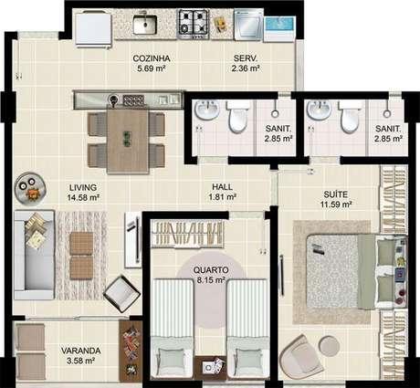 21. As suítes das plantas de casas modernas são usadas de modo a otimizar espaço. Imagem: Decorando Casas