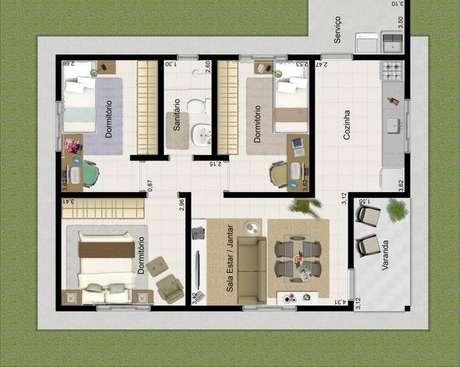 22. As áreas de serviços podem ser externas nas plantas de casas modernas. Imagem: Decorando Casas