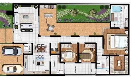 40. A área externa das plantas de casas modernas podem ser grandes. Imagem: Ideias Decor