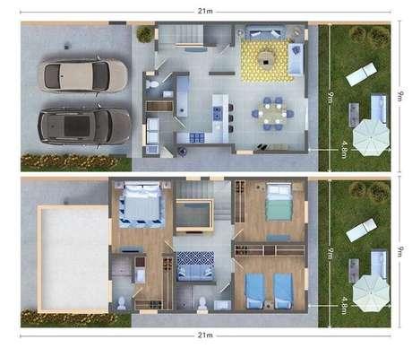 23. As áreas externas também podem bem simples nas plantas de casas modernas. Imagem: Elga