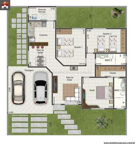 25. A entradas das plantas de casas modernas costumam ser bem simples. Imagem: Monte Sua Casa