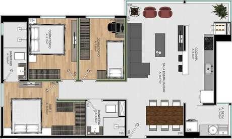 26. A cozinha das plantas de casas modernas costumam ter espaço otimizado. Imagem: Invest Corp