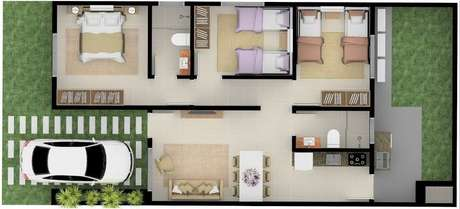 27. A disposição de móveis nas plantas de casas modernas também costuma ser bem simples. Imagem: Construye Hegar