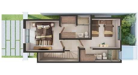 29. As plantas de casas modernas com mais de um andar costumam ser bem modulados. Imagem: Adamar