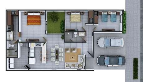 30. O jardim interno das plantas de casas modernas podem ficar nas em posição mais centralizada. Imagem: Pinterest