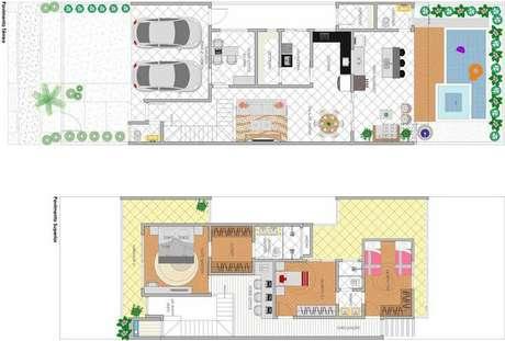 31. As plantas de casas modernas podem ser projetadas em uma organização diferenciada. Imagem: Ideias Decor