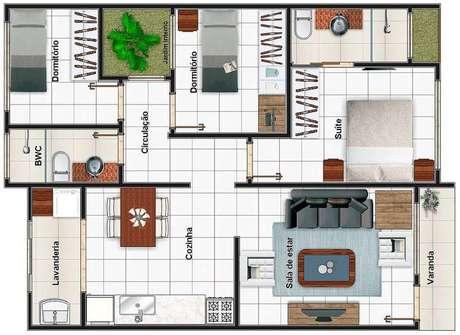 32. As plantas de casas modernas também podem ter salas menores que cozinhas. Imagem: Decor Fácil