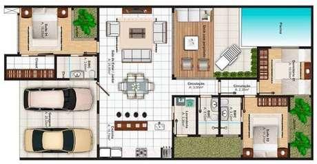 34. Plantas de casas modernas grandes otimizam espaços com técnicas de divisão. Imagem: Plantas de Casas