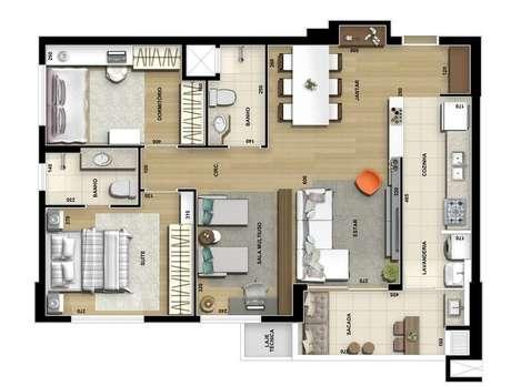 35. As cozinhas podem ser associadas à sacada nas plantas de casas modernas. Imagem: Construtora Design