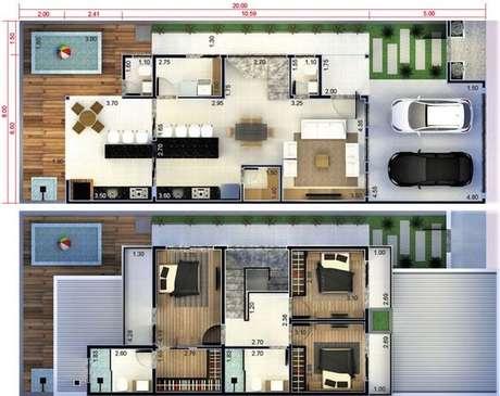 37. Plantas de casas modernas podem ter área para crianças. Imagem: Casas Para Construir
