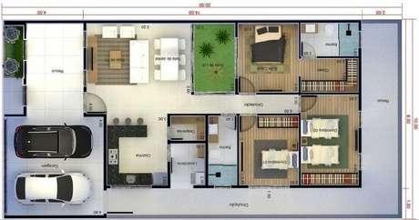 38. O jardim internos das plantas de casas modernas dão mais vida para o imóvel. Imagem: Pinterest