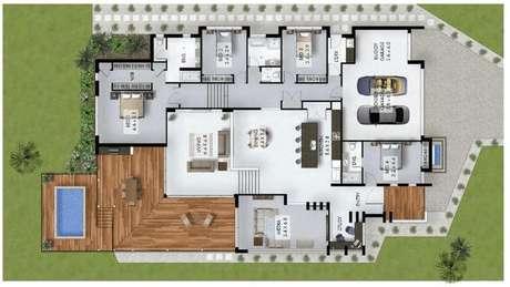 41. A propriedades projetadas nas plantas de casa modernas costumam ser grandes, médias e pequenas. Imagem: Só Decor