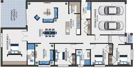 42. As plantas de casas modernas costumam ter cômodos grandes e bem funcionais. Imagem: Pinterest