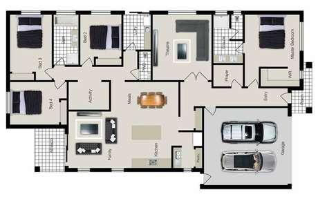43. Muitas plantas de casas modernas possuem áreas de afresco. Imagem: Ideias Decor