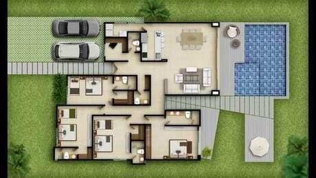 44. Os decks das plantas de casas modernas costumam ser muito multi funcionais. Imagem: Mini Mizy