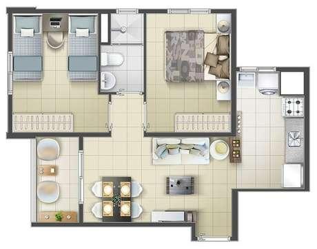 4. Projeto de imóveis com dois quartos são plantas de casas modernas muito populares. Imagem: Miva Imóveis