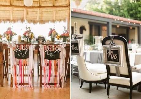 25. Plaquinhas de casamento criativas para a cadeira dos noivos. Fonte: Pinterest