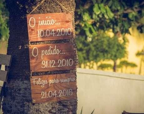 45. Plaquinhas informativas de casamento. Fonte: Revista ICasei