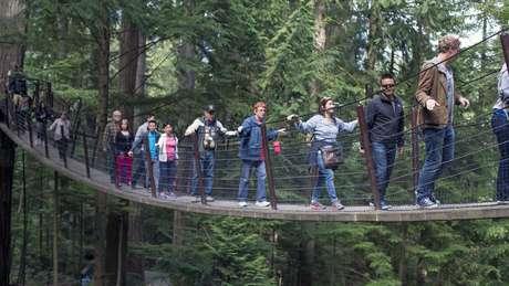 Ponte suspensa em Vancouver, onde Dutton e Aron conduziram o experimento