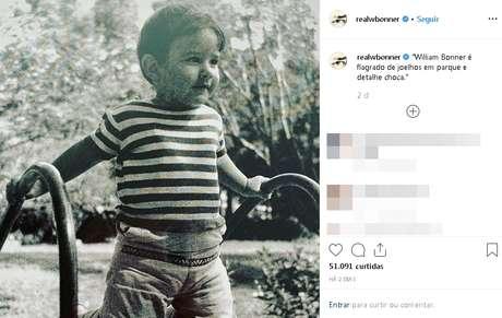 Uma das postagens de Bonner: seguidores elogiaram a fofura do garoto
