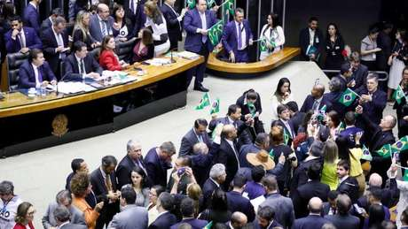 Deputados a favor da reforma agitaram bandeirinhas do Brasil durante a votação