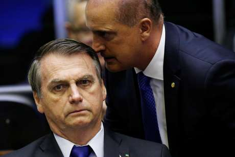 Presidente Jair Bolsonaro e ministro Onyx Lorenzoni na Câmara dos Deputados 10/07/2019 REUTERS/Adriano Machado
