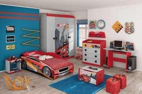 3. Cama infantil carros para quarto temático – Por: Madeira e Madeira