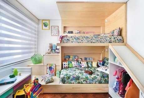 67. Cama infantil com beliche para quarto compartilhado – Por: Pinterest