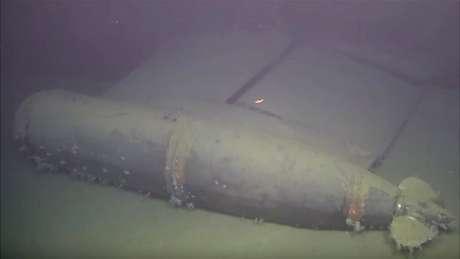 Parte do sistema de geração de energia auxiliar, filmado pelo ROV