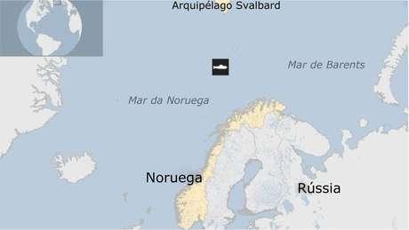 Mapa da região onde o submarino foi encontrado
