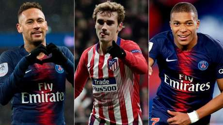 Neymar, Griezmann e Mbappé têm situação indefinida na Europa (Foto: AFP)