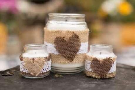 27. Potes de vidros decorados com juta. Fonte Pinterest