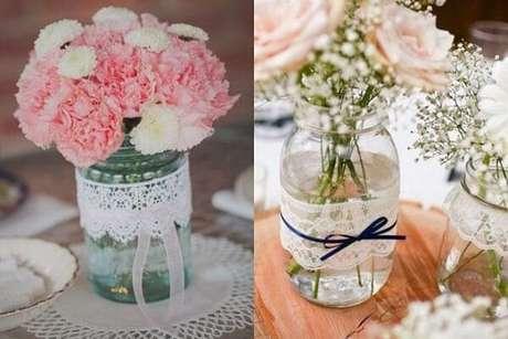 49. Potes de vidros decorados com renda. Fonte: Pinterest
