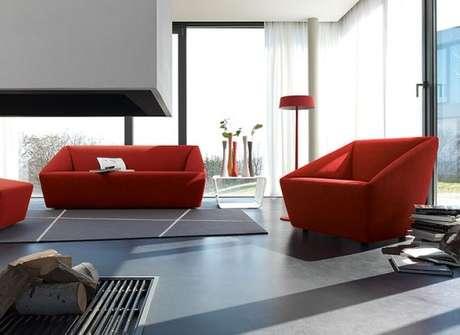 49. Sofá vermelho para sala de estar moderna – Por: Stylainterier