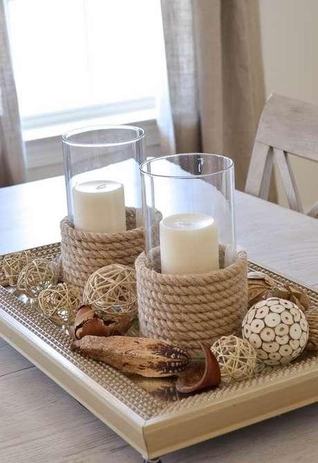 33. Vidros decorados com corda de sisal. Fonte: Pinterest