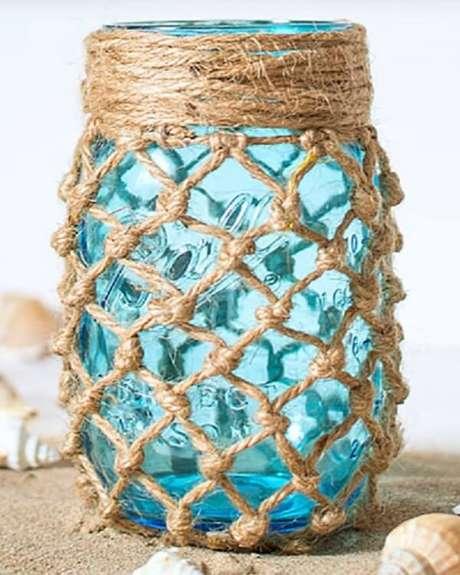 35. Vidros decorados com fibra de sisal. Fonte: Pinterest